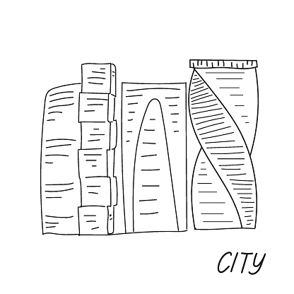 Doodle Moscow city. Hand drawn sketch. Business Center with several skyscrapers. Famous architecture.