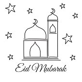 Doodle mosque and star for eid mubarak greeting