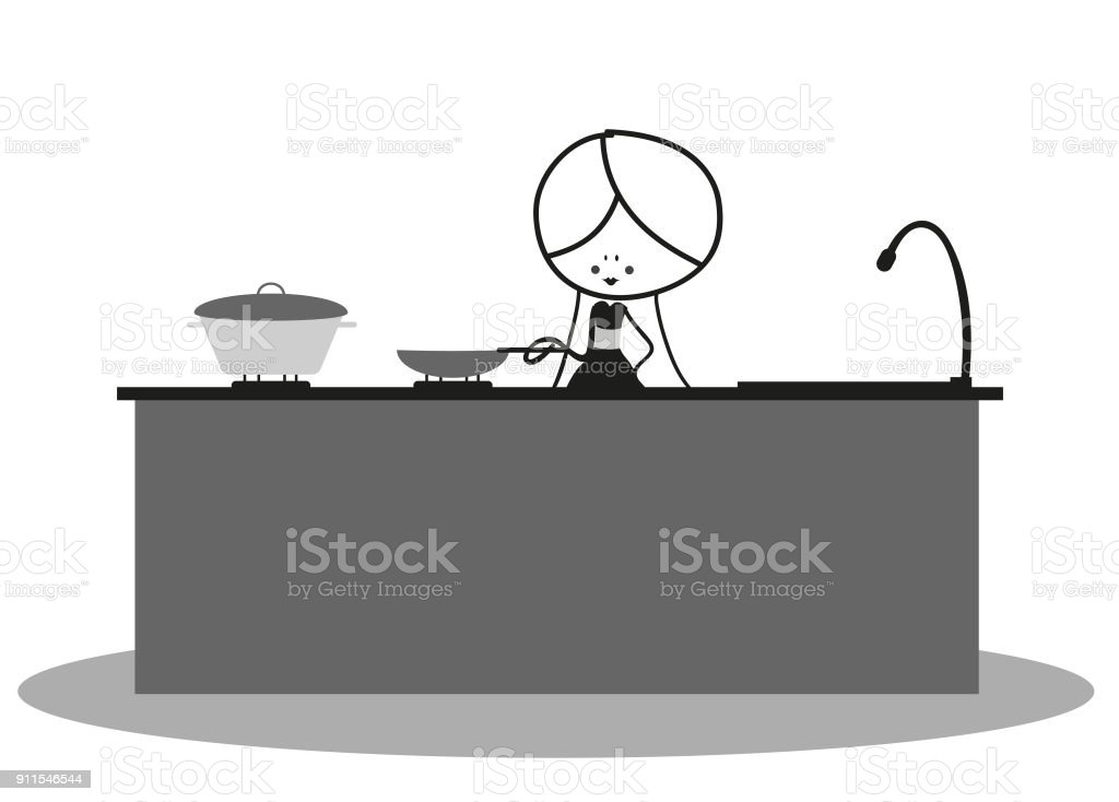 Doodle Mother Cooking In The Kitchen Stock Vector Art