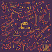 Set of musical instrument outline drawing in a neon color over dark background
