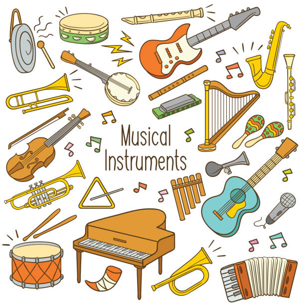 doodle musical instruments - klarnet stock illustrations