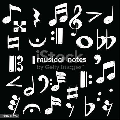 Set of doodle musical note symbol drawn over chalkboard