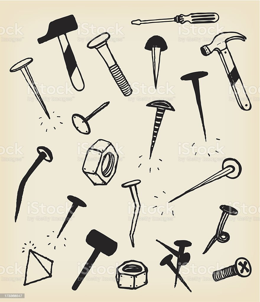 Doodle Nails, Bolts, Hammers And Tool Icons royalty-free doodle nails bolts hammers and tool icons stock vector art & more images of bolt