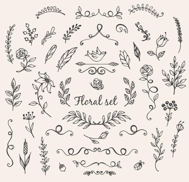 illustrazioni stock, clip art, cartoni animati e icone di tendenza di doodle elementi della natura - farfalla ramo