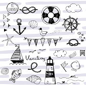doodle nautical elements on striped abstract background