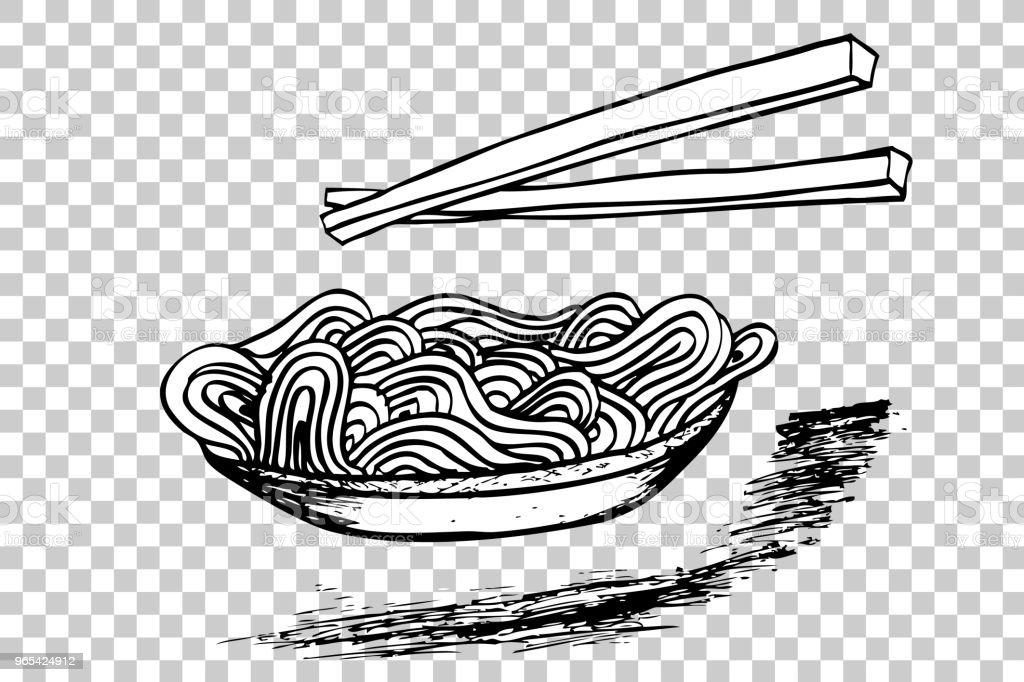 Doodle nouilles au bol et baguettes - clipart vectoriel de Aliment libre de droits