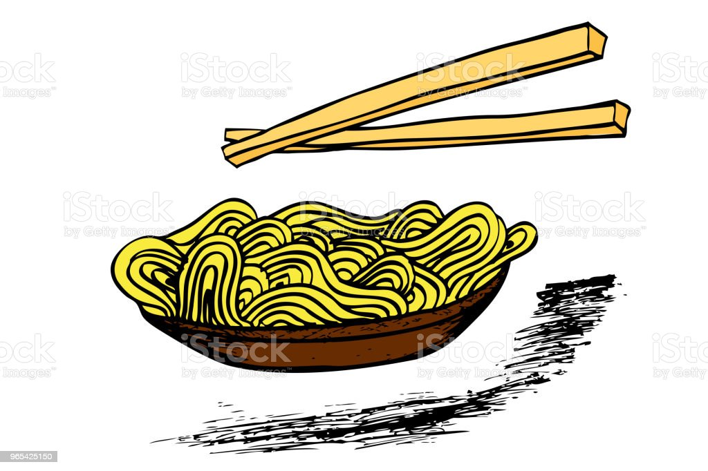 Doodle Noodle at bowl and Chopstick doodle noodle at bowl and chopstick - stockowe grafiki wektorowe i więcej obrazów azja royalty-free