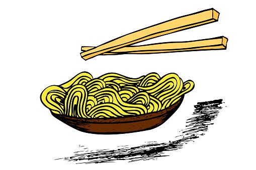 그릇에 국수와 젓가락 낙서 건강한 식생활에 대한 스톡 벡터 아트 및 기타 이미지