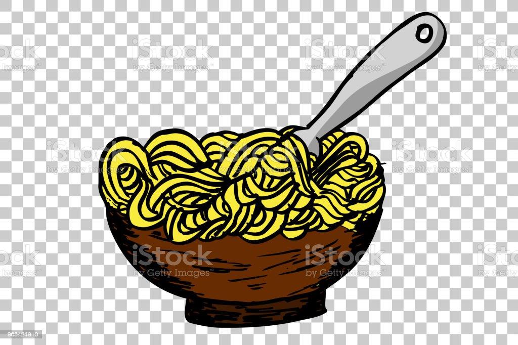 doodle Noodle at bowl and Fork doodle noodle at bowl and fork - stockowe grafiki wektorowe i więcej obrazów azja royalty-free