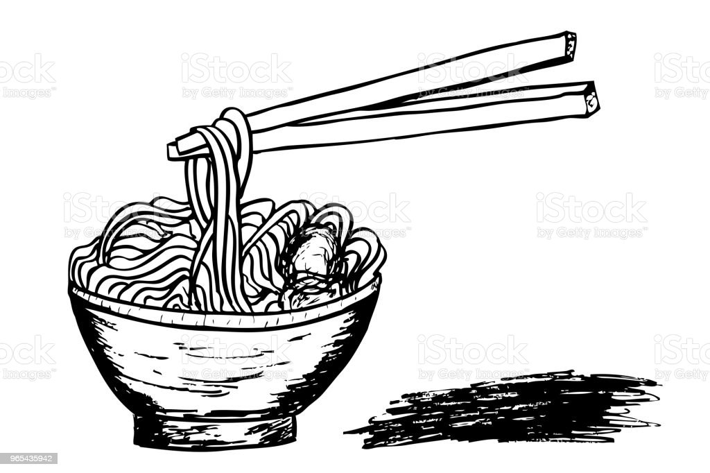 doodle Noodle at bowl and stick at white royalty-free doodle noodle at bowl and stick at white stock vector art & more images of asia