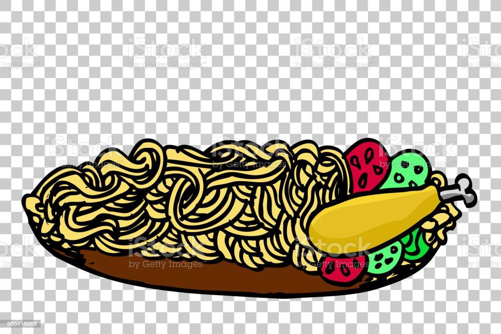 doodle Noodle at plate and chicken at transparent effect background doodle noodle at plate and chicken at transparent effect background - stockowe grafiki wektorowe i więcej obrazów azja royalty-free
