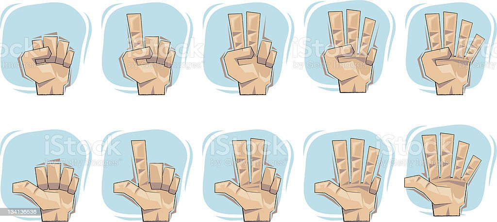 Doodle Number Hand Sign Icons vector art illustration