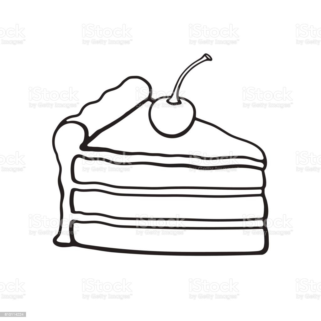 Doodle Of A Piece Of Cake With Cream And Cherry Stock Vector Art ... for Drawing Cake Slice  45jwn