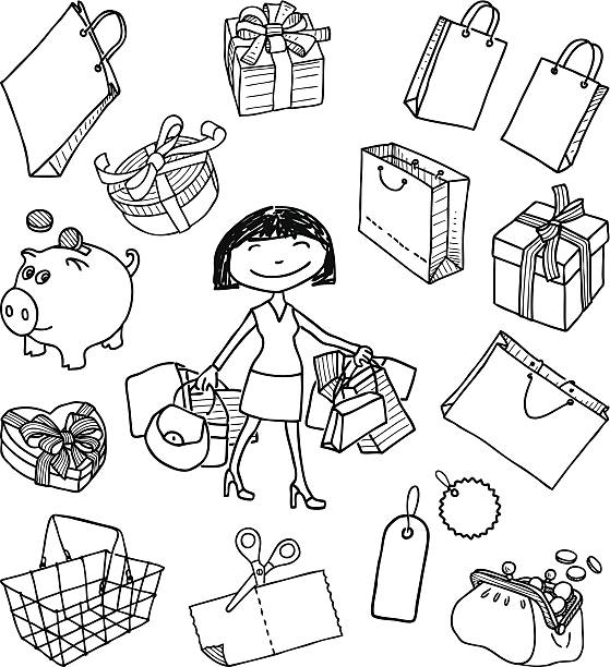 bazgroły na zakupy - kosz na zakupy stock illustrations