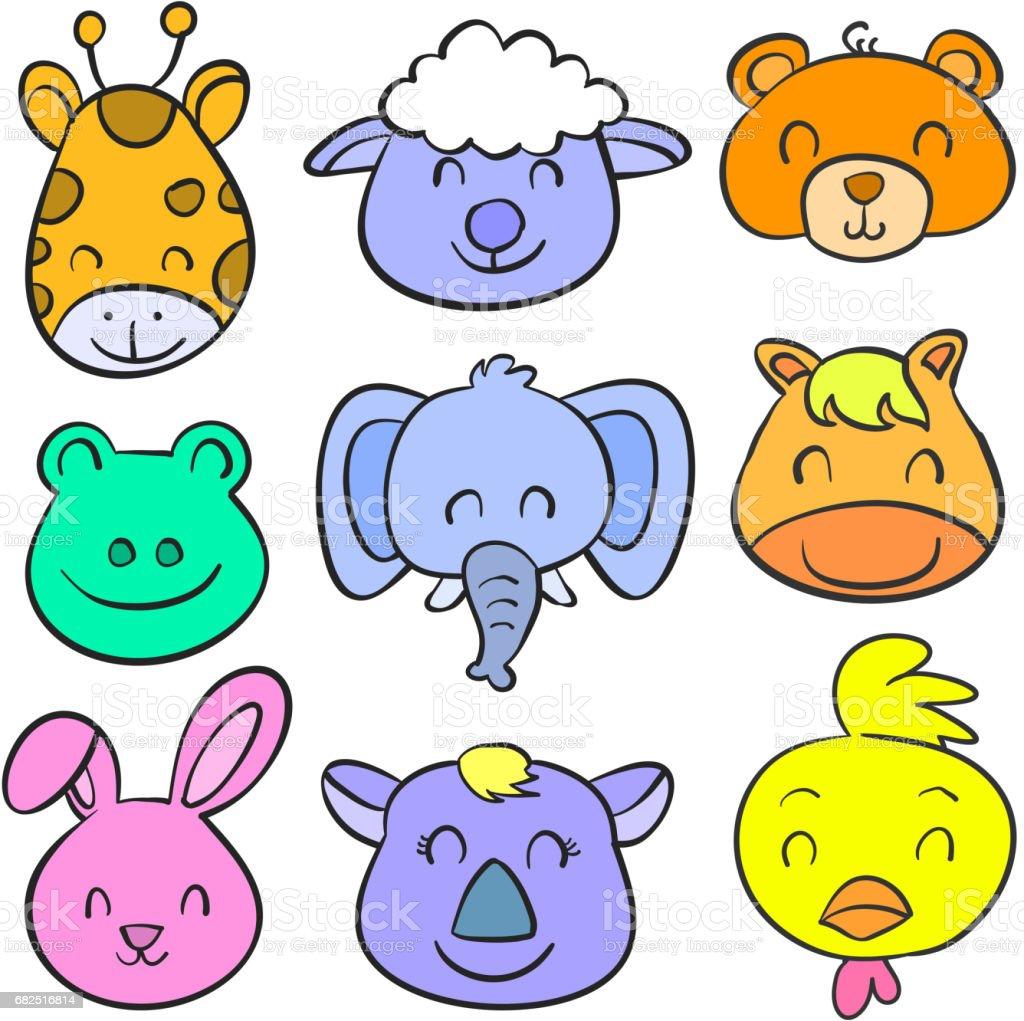 Hayvan gülümseme şirin koleksiyonu vektör çizim doodle royalty-free hayvan gülümseme şirin koleksiyonu vektör çizim doodle stok vektör sanatı & animasyon karakter'nin daha fazla görseli