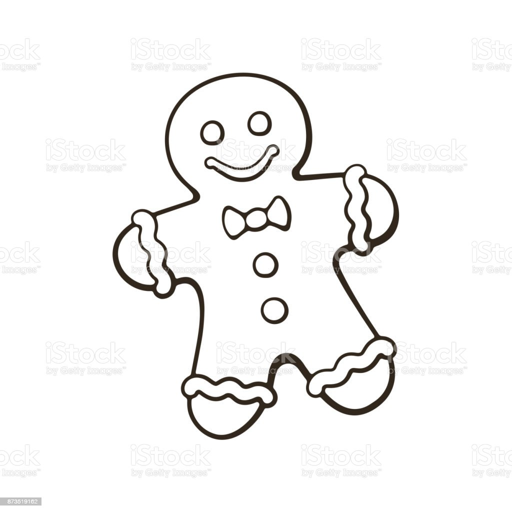 Doodle of Christmas cookies Gingerbread man Vector illustration. Hand drawn doodle of Christmas cookies Gingerbread man. New year biscuit ginger man. Cartoon sketch. Isolated on white background Adult stock vector