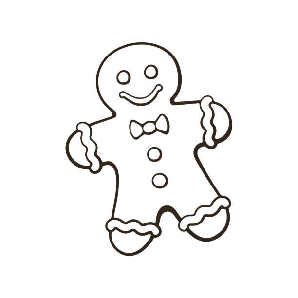 ilustraciones, imágenes clip art, dibujos animados e iconos de stock de doodle del hombre de pan de jengibre galletas de navidad - gingerbread man