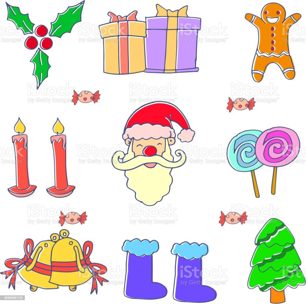 Ilustración de Doodle Of Christmas Set Element y más banco de ...