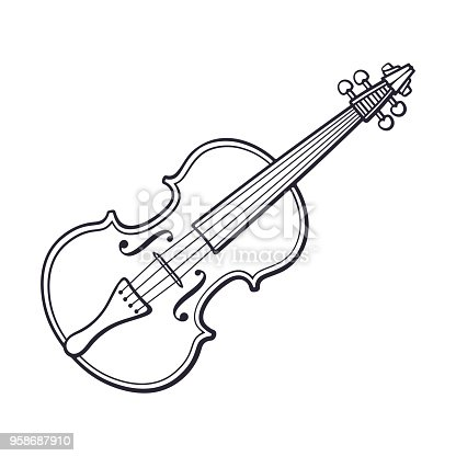 istock Doodle of classic violin without a bow 958687910