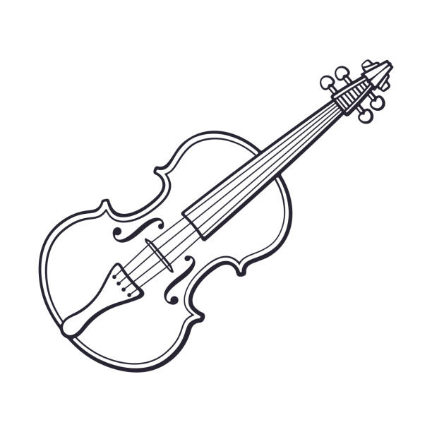 doodle of classic violin without a bow - skrzypce stock illustrations