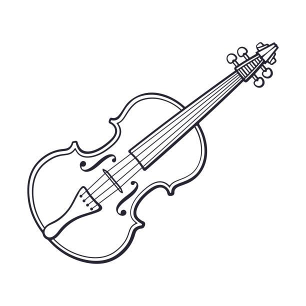 bildbanksillustrationer, clip art samt tecknat material och ikoner med doodle av klassisk fiol utan en båge - violin