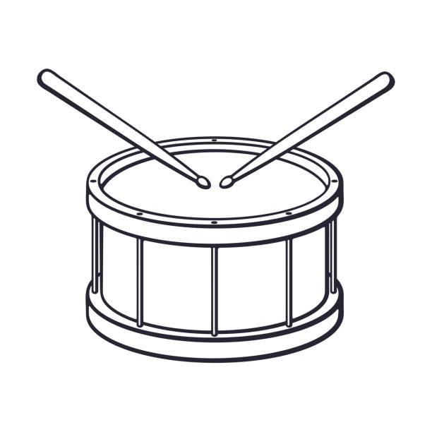 stockillustraties, clipart, cartoons en iconen met doodle van klassieke houten trommel met drumsticks - drum