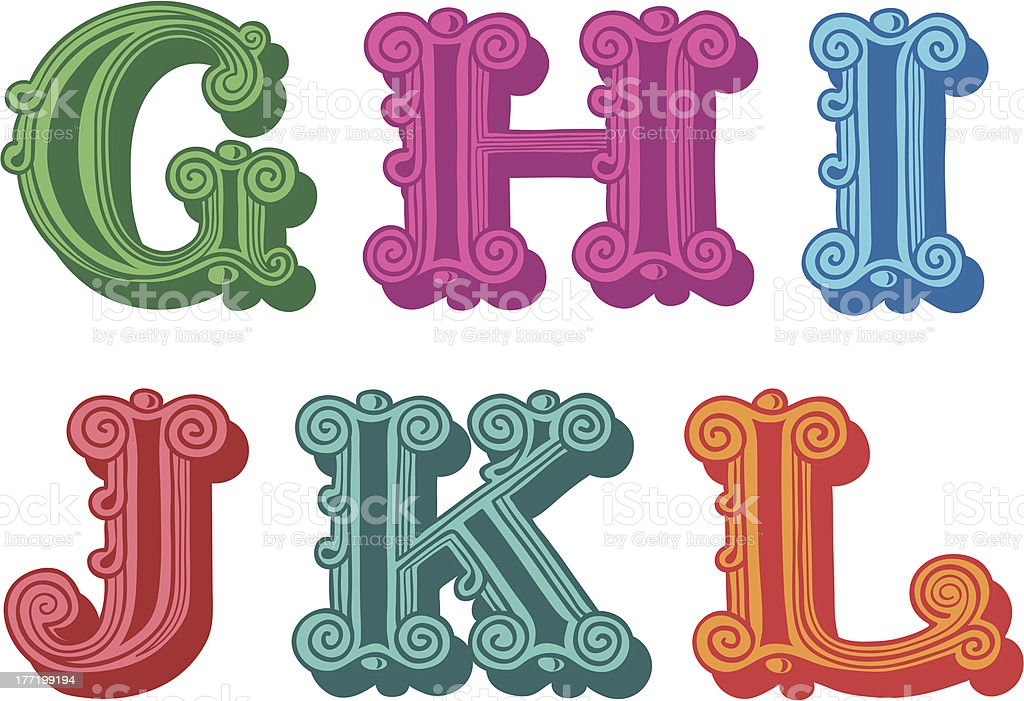 Doodle of colorful Antiqua alphabet letters royalty-free stock vector art