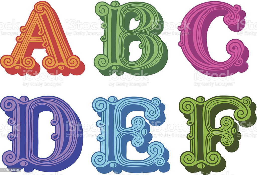 Doodle of colorful Antiqua alphabet letters royalty-free doodle of colorful antiqua alphabet letters stock vector art & more images of alphabet