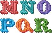 Doodle of retro Antiqua alphabet letters in caps, G, H, I, J, K, L