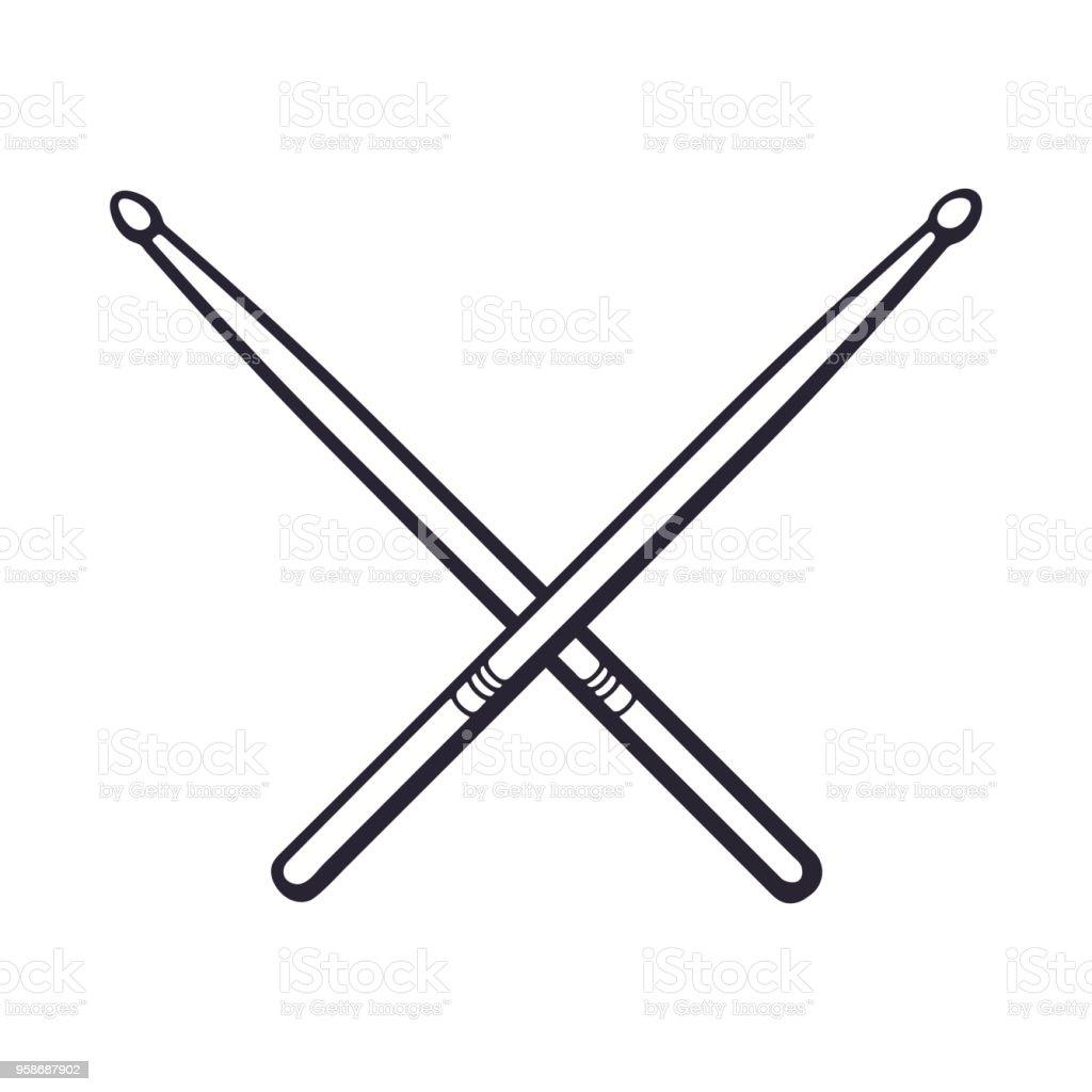 Doodle de baguettes croisées - Illustration vectorielle