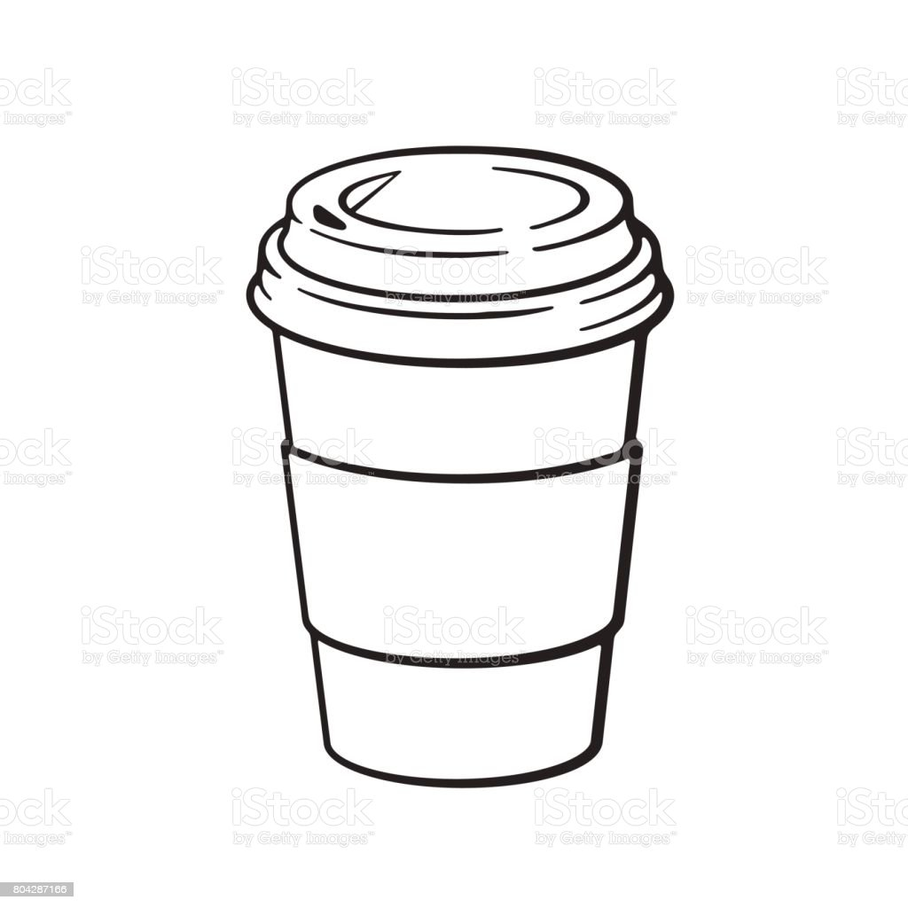 Doodle of disposable paper cup with coffee or tea vector art illustration