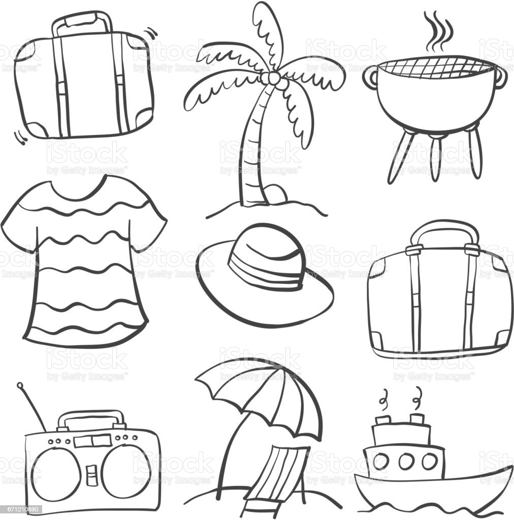 Doodle Of Element Summer Holiday Hand Draw Royalty Free Stock Vector Art