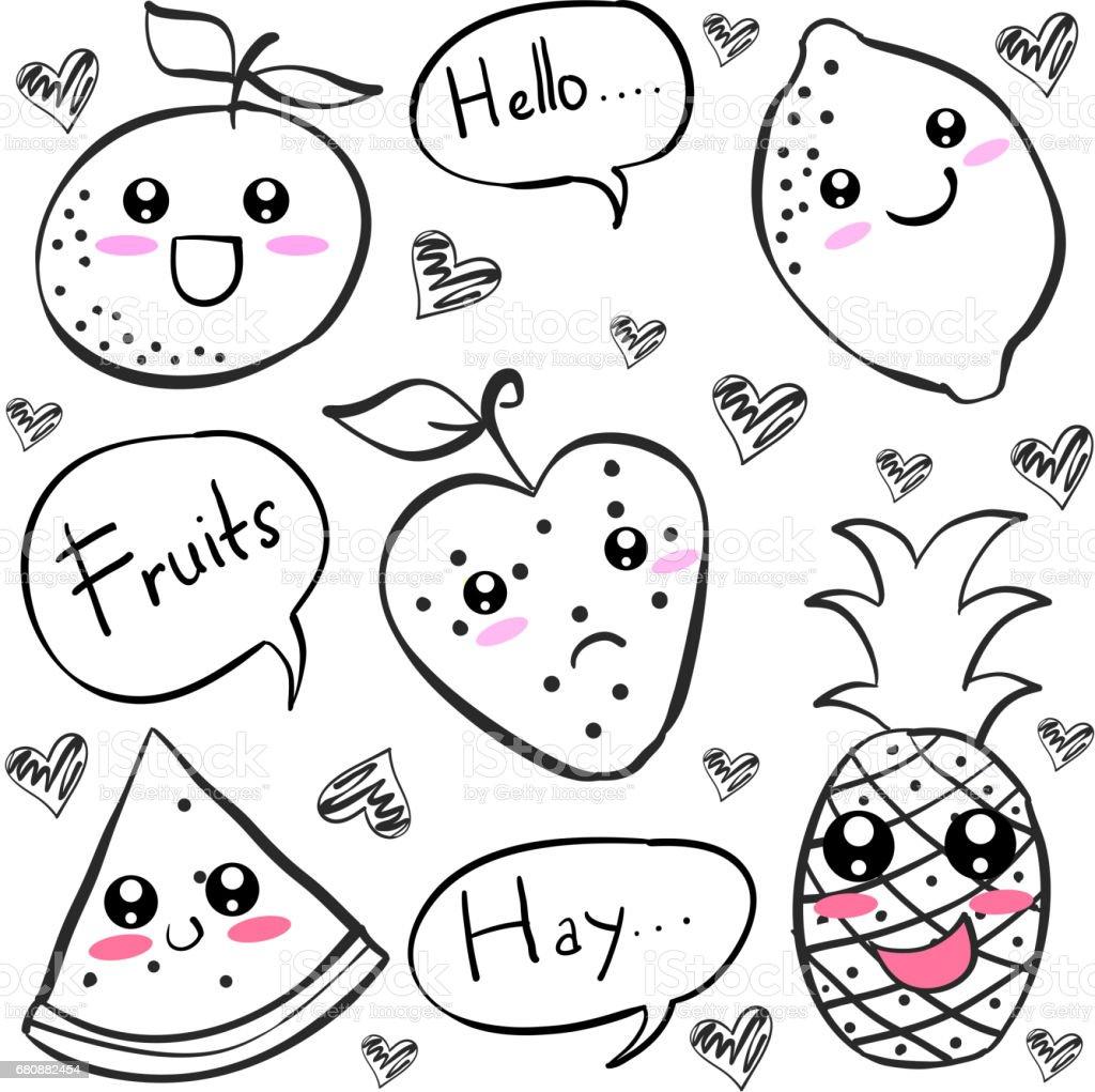 Doodle of fruit black white vector art royalty-free doodle of fruit black white vector art stock vector art & more images of art