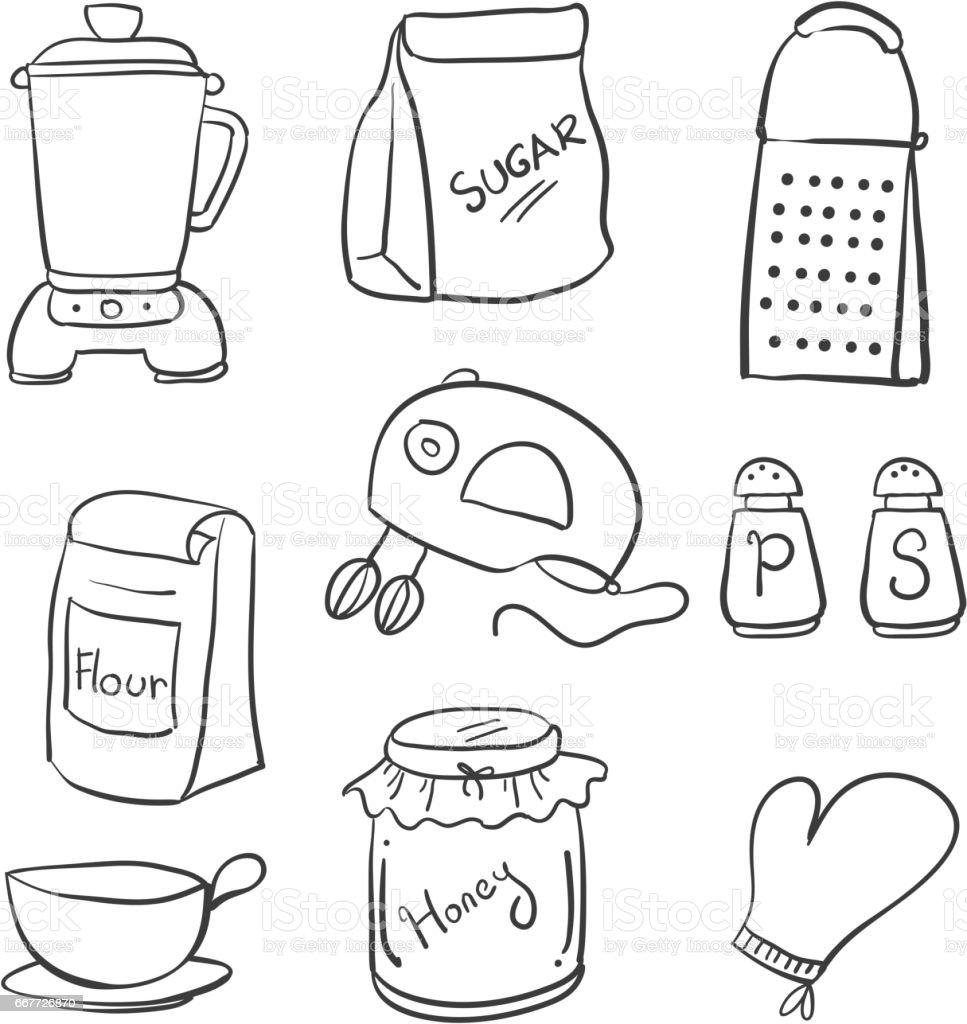 Doodle Of Hand Draw Kitchen Set Vector Illustration Stock Vector Art