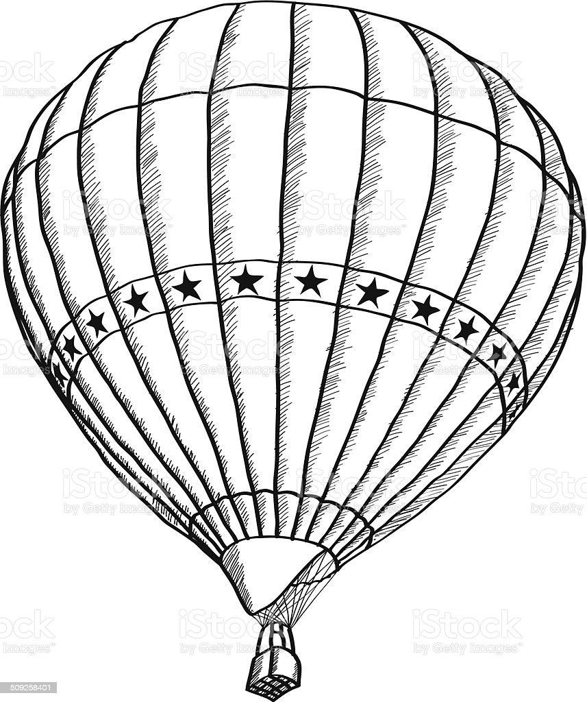 gekritzel der heißluftballon vektorskizze stock vektor art