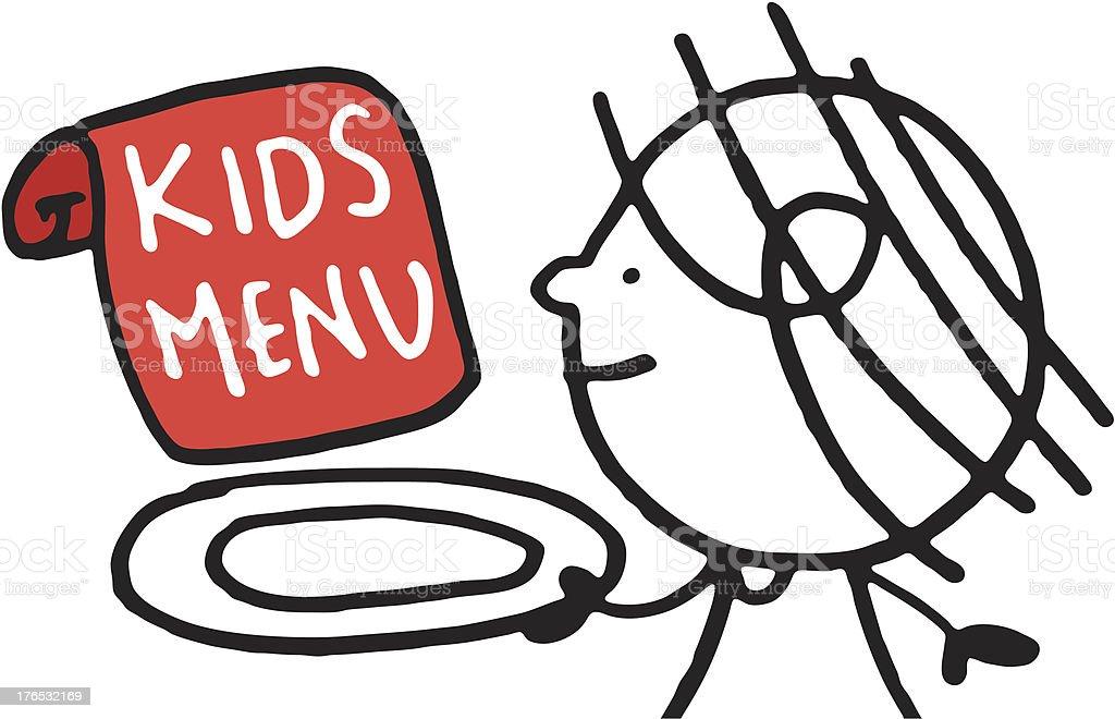 Doodle of kid holding kids menu sign royalty-free stock vector art