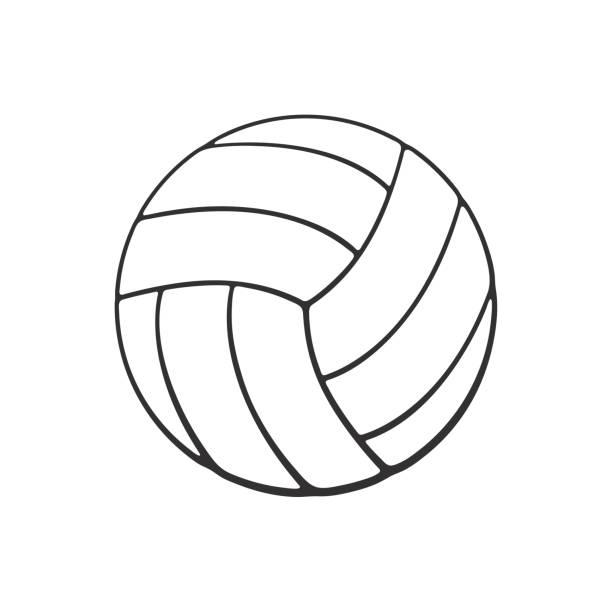 Doodle de pelota de voleibol de cuero - ilustración de arte vectorial