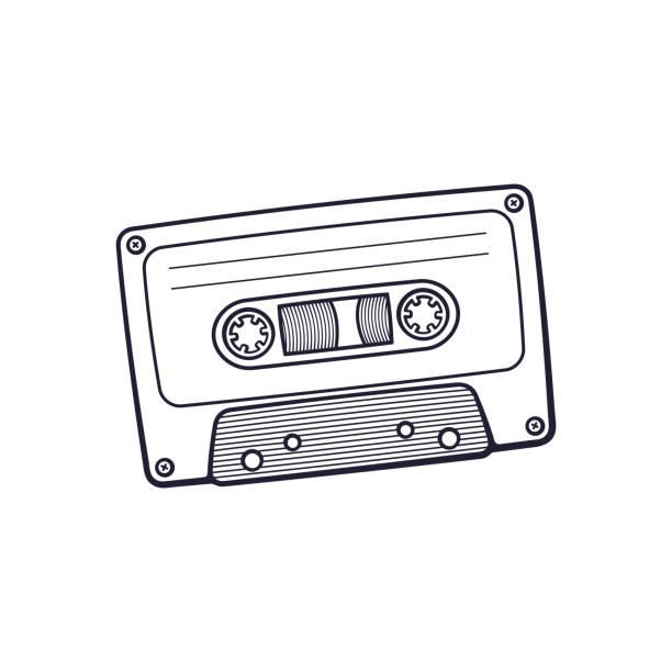 ilustrações, clipart, desenhos animados e ícones de doodle de gaveta audio retrô - fita cassete