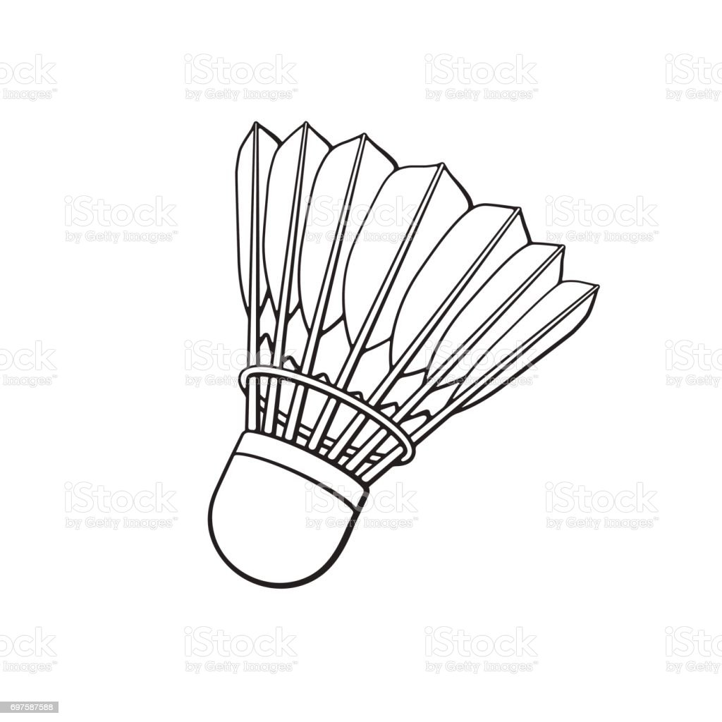 Line Drawing Net : Doodle of shuttlecock for badminton from bird feathers