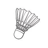 Doodle of shuttlecock for badminton from bird feathers