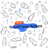 doodle of sixteen soft drink bottles, water drop, bubble and ice cube