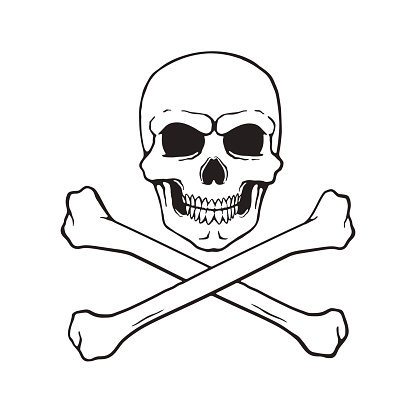 Doodle of skull Jolly Roger with crossbones at the bottom