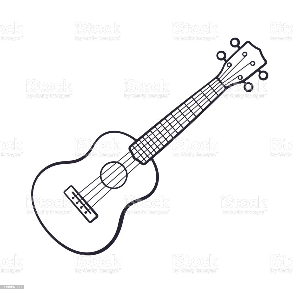Doodle Of Small Classical Guitar Stock Vector Art More Images Of