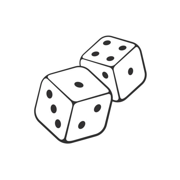 Doodle of two white dice with contour Vector illustration. Hand drawn doodle of two white dice with contour. Gambling symbol. Cartoon sketch. Decoration for greeting cards, posters, emblems, wallpapers rolling stock illustrations