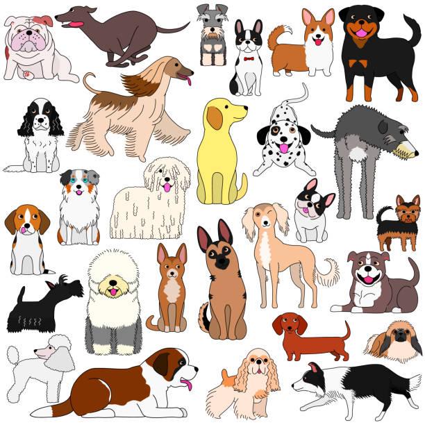 様々な犬の落書き ベクターアートイラスト
