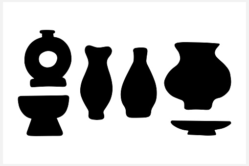Doodle old ceramic set icon isolated on white. Stencil vector stock illustration. EPS 10