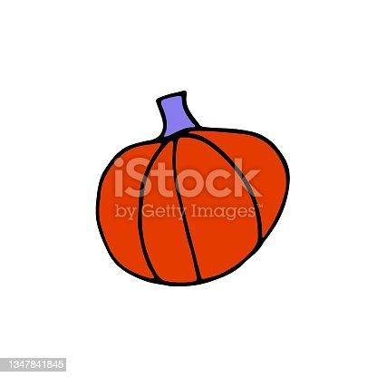 istock Doodle Orange Pumpkin isolated on white background 1347841845