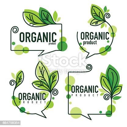 doodle organic leaves emblems, elements,  frames
