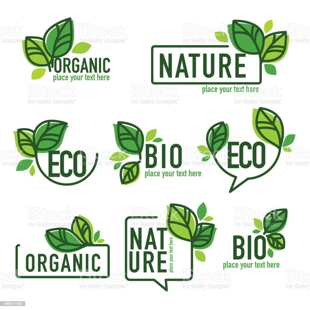 doodle organic leaves emblems royalty-free doodle organic leaves emblems stock illustration - download image now