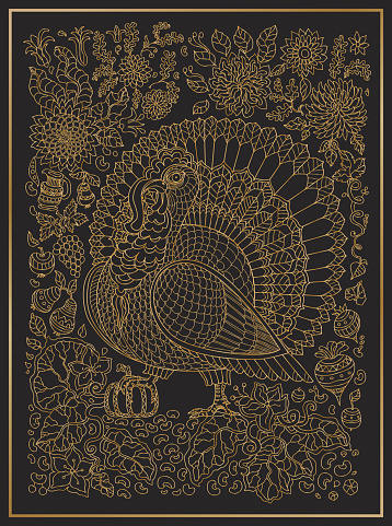 Doodle ornate bird, fantastic flowers, branches, leaves, apples, pears, pumpkin. Golden contour thin line drawing ,ethnic ornaments on a black background. Vector decorative fantasy stylized Thanksgiving turkey  silhouette.T-shirt print. Batik paint.